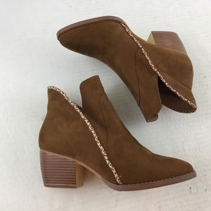 Mia Girl Nancee Brown Vegan Suede Ankle Booties